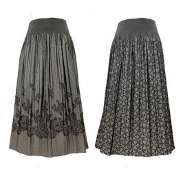 商品番号IS-9864-3W リバーシブルスカート バラ柄&幾何柄(グレー)