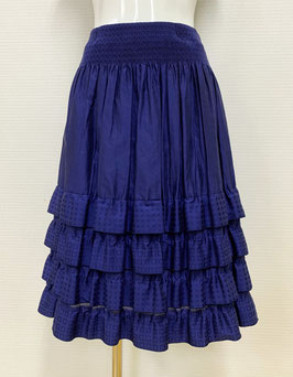 商品番号IS-8508-6USF 幾何柄4段フリルスカート(紺)