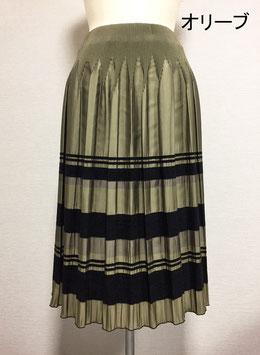 商品番号IS-9511-3W モール入りボーダースカート(オリーブ)
