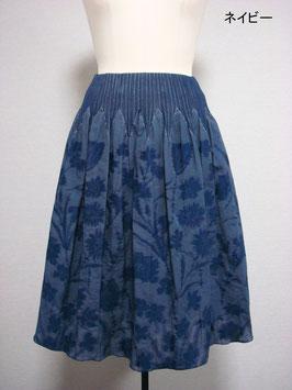 商品番号IS-8897-2W-2  花柄スカート(ネイビー)