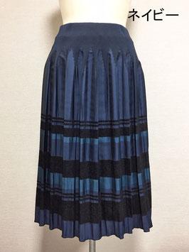 商品番号IS-9511-3W モール入りボーダースカート(ネイビー)