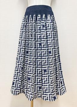 商品番号IS-9871-1W ドット入り表カットギンガムスカート(紺)