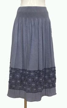 商品番号IS-9856-7W 丸花透けボーダー表カットスカート(パープル系)
