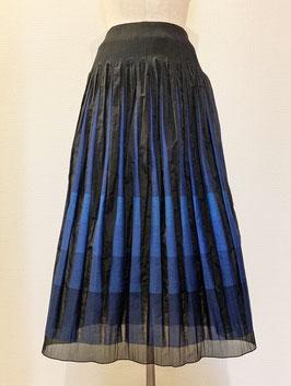 商品番号IS-9623-6US  透け切替ボーダースカート(ブルー)