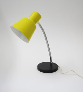 Gelbe 60er Jahre Tischlampe mit Schwanenhals