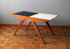 50er Jahre Salontischtisch mit Glasplatten und Schiebefach