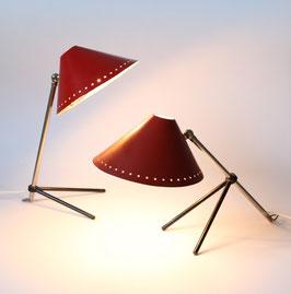 """Zwei rote """"Pinocchio"""" Lampen H. Th. A. Busquet für Hala Zeist"""