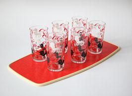 """Serviertablett mit sieben (6 + 1) Gläsern """"Pudel"""""""