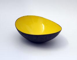 Ovale, gelbe Krenit Schale von Herbert Krenchel