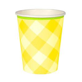Becher gelb gingham