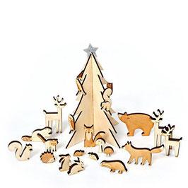 Adventskalender Koffer Holztiere