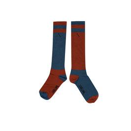 Knee socks color block ginger/blue