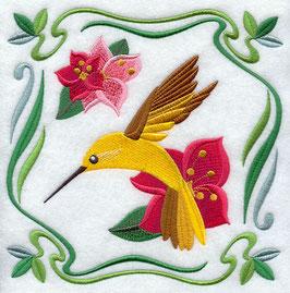 Four Seasons Nouveau Tile - Summer Flowers and Hummingbird