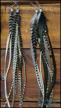 Feder Ohrringe Schwarz&Weiß (kurz) Paar