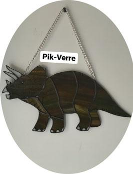 Vitrail dinosaure triceratops