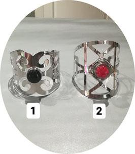 Bracelets manchettes avec petites perles à pression 16/18mm