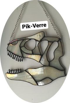 Vitrail dinosaure crâne de T-rex