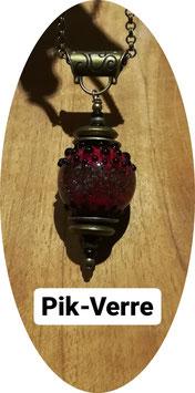 Collier à paillettes rouge et noir