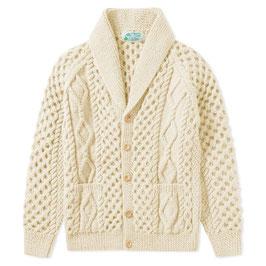 Strathtay Hand-Knit 100% Scottish BFL Sheep Wool Shawl Collar Cardigan Sweater