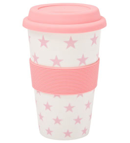 Coffee to go Becher Sterne light rosa