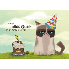 HolzPostkarte Birthday Angy Cat