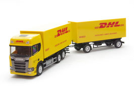 """1/87Scania CR High roof interchangeable box trailer """"DHL"""""""