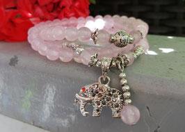 Rosenquarz Armband mit Elefanten Anhänger