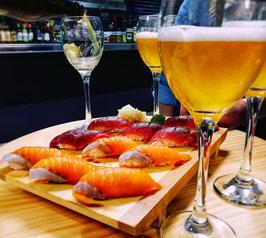 Maridaje de cerveza con sushi ortodoxo, múltiples cortes de ventresca de atún rojo salvaje