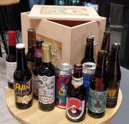 """Pack CAJA DE MADERA CON ABRIDOR """"La Mundial"""" (12 cervezas)"""