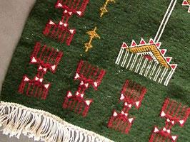 Petit tapis berbère vert en laine