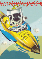 Birthday Rocket - Postkarte