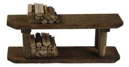 Ofenbank mini mit Holzscheiten 12cm