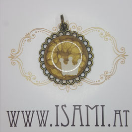 Anhänger - Blume mit Motiv - Krone
