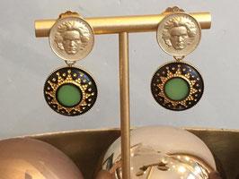 Beethovens Schönste - Ohrstecker gold matt schwarz-gelb-grünem Ornament
