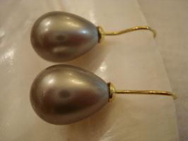 Muschelkernperle grau + gold