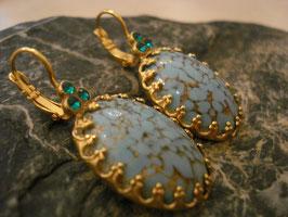 Cabochon-Ohrringe im Vintage-Stil türkis-gold