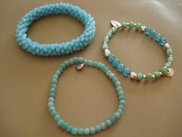 SET - 3 Armbänder auf Elastikband Türkis-blau (25)