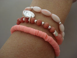 SET - 3 Armbänder auf Elastikband in lachs-rosa-Tönen