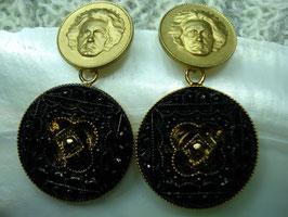 Beethovens Schönste - Ohrstecker schwarz gold Ornament
