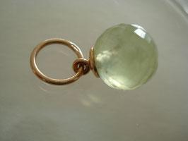Prehnit-Anhänger zart grün Rosé-Vergoldung auf 925er Silber