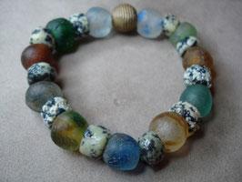 BUNT BUNT BUNT handgearbeitetes Krobo-Glas + Messing-Perle