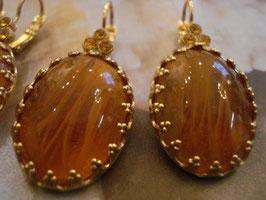 Ohrringe bernstein-gold-farbig