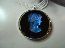Beethovens Schönste - Ornament Anhänger Gemme blau schwarz - sehr edel