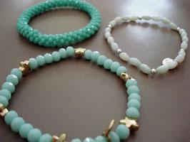 SET - 3 Armbänder auf Elastikband in Türkis - Tönen