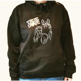 Kuschliger Hoodie schwarz mit tollem Pferde-Strassmotiv
