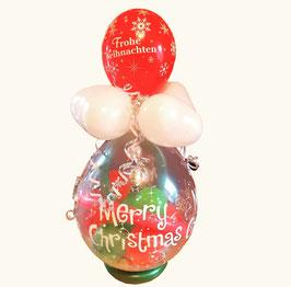 Geschenkballon / Verpackungsballon rot/grün Frohe Weihnachten