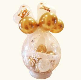 Weihnachtlicher Geschenkballon / Verpackungsballon weiß/gold