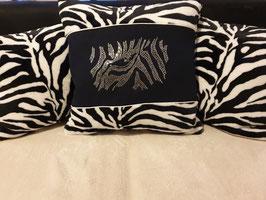 Kissen-Set 3-teilig mit Strassmotiv Zebra