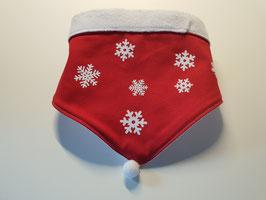 Hundehalstuch für den Winter rot/weiß mit Schneeflocken
