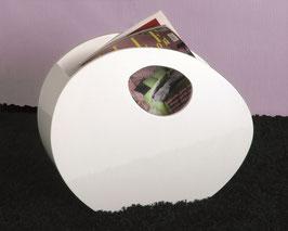 Stilvoller Zeitschriftenständer in weiß, hochglanz